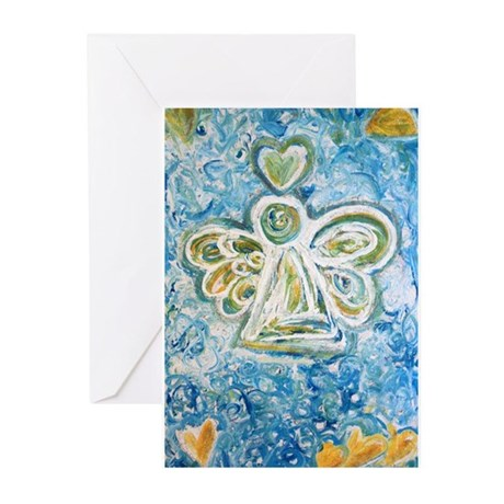 Golden Blue Guardian Ang Greeting Cards (Pk of 20)