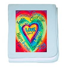 Rainbow Heart Spirit Words baby blanket