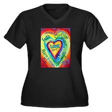 Rainbow Heart Spirit Words Women's Plus Size V-Nec