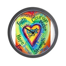 Rainbow Heart Spirit Words Wall Clock