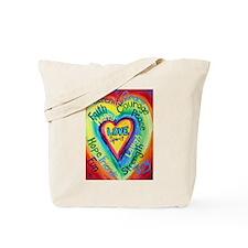 Rainbow Heart Spirit Words Tote Bag