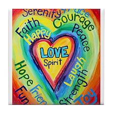 Rainbow Heart Spirit Words Tile Coaster