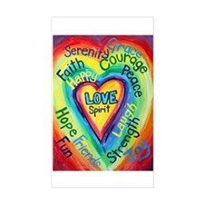Rainbow Heart Spirit Words Decal