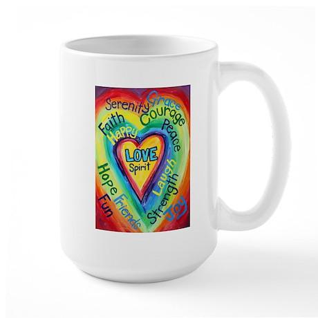 Rainbow Heart Spirit Words Large Mug