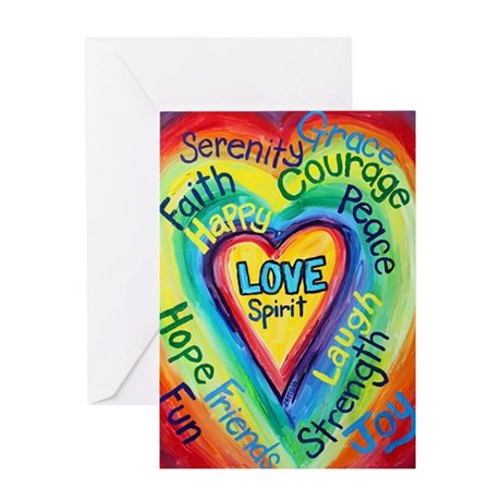 Rainbow Heart Spirit Words Greeting Card