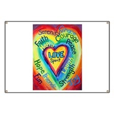 Rainbow Heart Spirit Words Banner