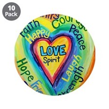 "Rainbow Heart Spirit Words 3.5"" Button (10 pack)"