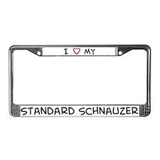 I Love Standard Schnauzer License Plate Frame