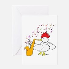 Cocky Sax Player Greeting Card