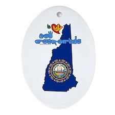 ILY New Hampshire Ornament (Oval)