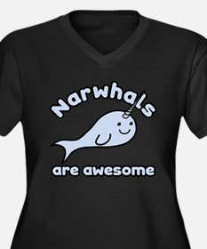 Narwhals Are Awesome Women's Plus Size V-Neck Dark