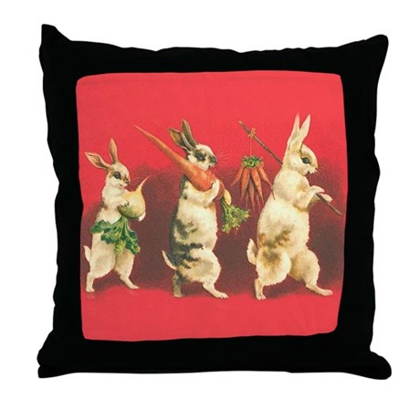 Vintage Rabbits Throw Pillow