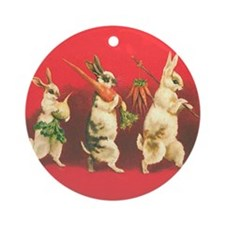 Vintage Rabbits Ornament (Round)