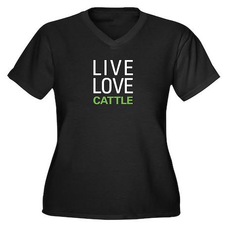 Live Love Ca Women's Plus Size V-Neck Dark T-Shirt
