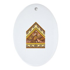 Golden Aztec Eagle Ornament (Oval)
