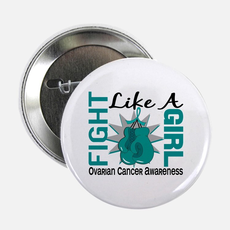 """Licensed Fight Like A Girl 8.3 Ovaria 2.25"""" Button"""