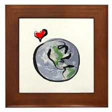Earth Native Globe Only Framed Tile