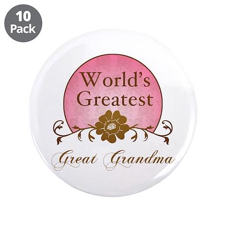 "Stylish World's Greatest Great Grandma 3.5"" Button"