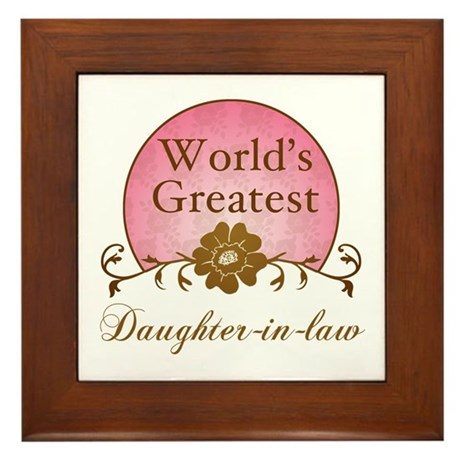 Stylish World's Greatest Daughter-In-Law Framed Ti