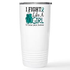 Fight Like A Girl Ovarian Cancer Travel Mug