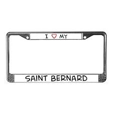 Love Saint Bernard License Plate Frame
