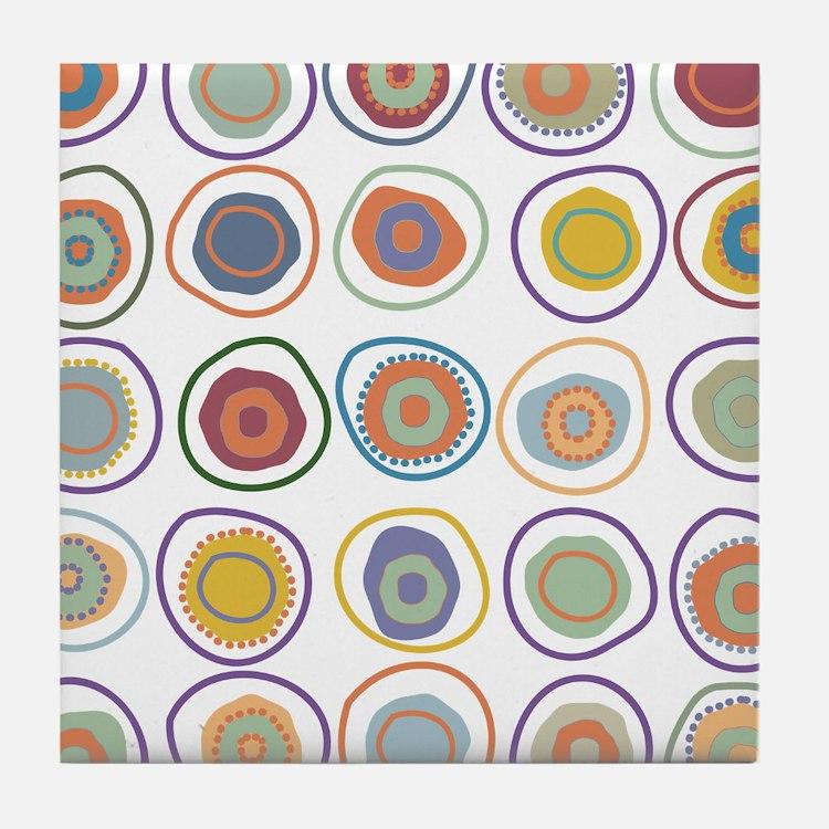 circles in cirlcles Tile Coaster
