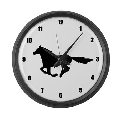 Horse (black) Large Wall Clock