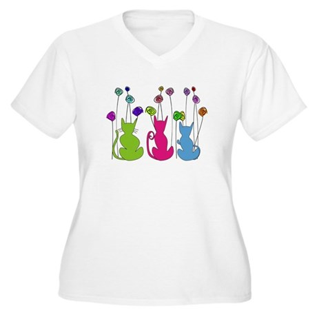 Cat Art Women's Plus Size V-Neck T-Shirt