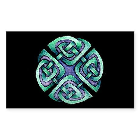 Celtic Blue Circle Sticker (Rectangle)