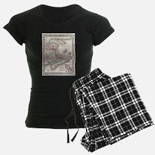 Vintage Nova Scotia and New Brunswick Map Pajamas