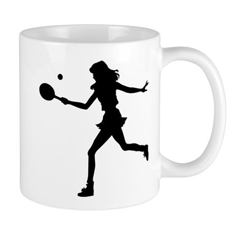 Girls Tennis Silhouette Mug