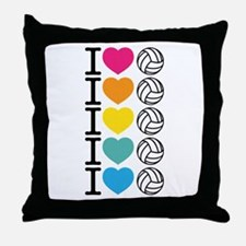 I Heart Volleyball Throw Pillow