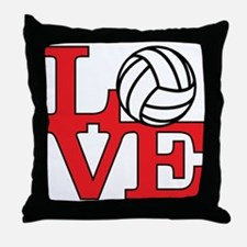 Volleyball Love - Red Throw Pillow