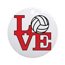 Volleyball Love - Red Ornament (Round)