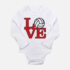 Volleyball Love - Red Long Sleeve Infant Bodysuit