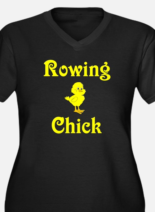 Rowing Chick Women's Plus Size V-Neck Dark T-Shirt
