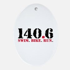 140.6 Swim Bike Run Ornament (Oval)
