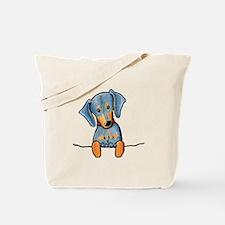 Black Pocket Dachsie Tote Bag