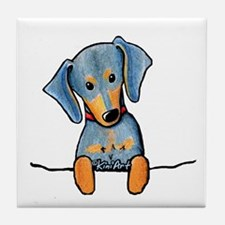Black Pocket Dachsie Tile Coaster