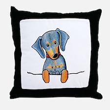 Black Pocket Dachsie Throw Pillow
