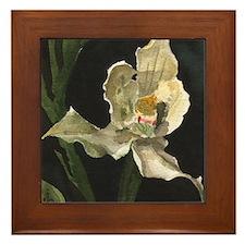 White Orchid Framed Tile