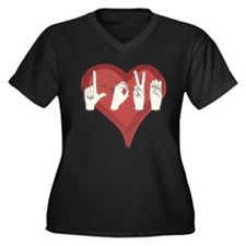 Cute Love spell Women's Plus Size V-Neck Dark T-Shirt