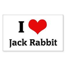 I Love Jack Rabbit Rectangle Sticker