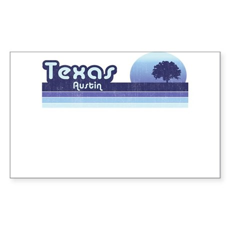 Austin Texas Blue Retro Sticker (Rectangle)