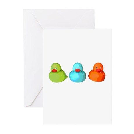 Three Rubber Ducks Greeting Cards (Pk of 10)