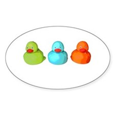 Three Rubber Ducks Oval Decal
