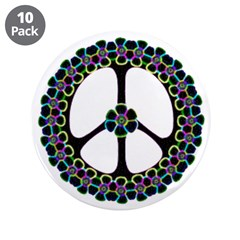 """Glowing Peace Design 3.5"""" Button (10 pack)"""