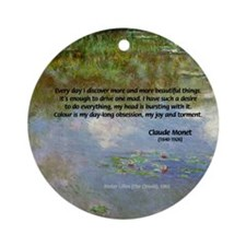 Monet Painting: Beauty Quote Ornament (Round)