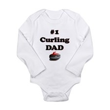 #1 Curling Dad Long Sleeve Infant Bodysuit