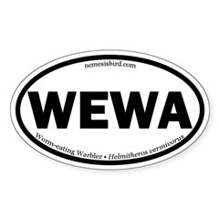 Worm-eating Warbler Oval Decal